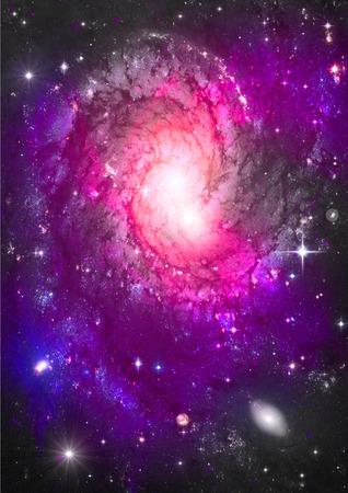 """자유 공간에서 스타와 나선 은하. """"NASA가 제공 한이 이미지의 요소""""."""