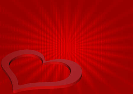 Abstract red wave background with red heart Stock Photo