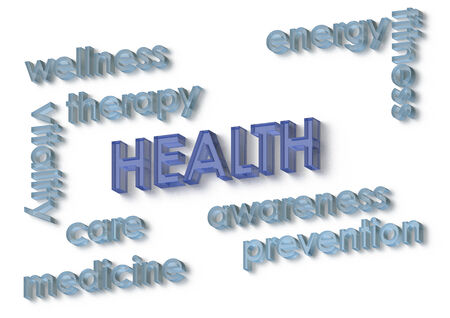 human health: Algunas palabras que asocian con la salud humana aislados en blanco. Foto de archivo
