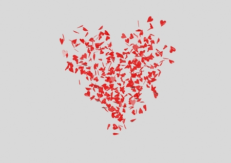 small group of objects: Red heart shape made of small hearts 3D Render