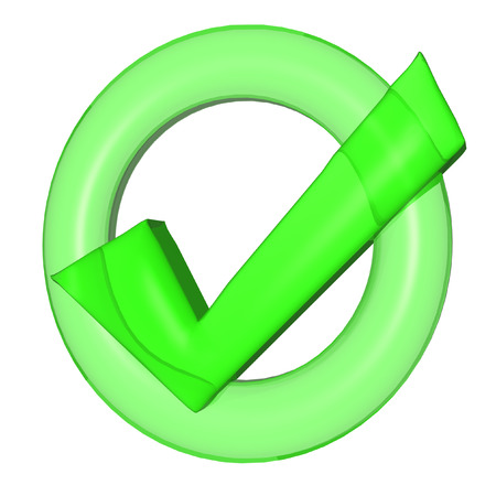 green check mark: Glossy green Check mark on white background