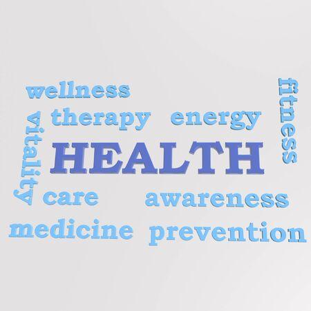 human health: Algunas palabras tridimensionales que asocian con la salud humana Foto de archivo