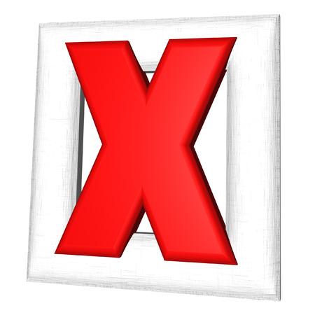 cross mark: Red 3d symbol of cross mark on white background