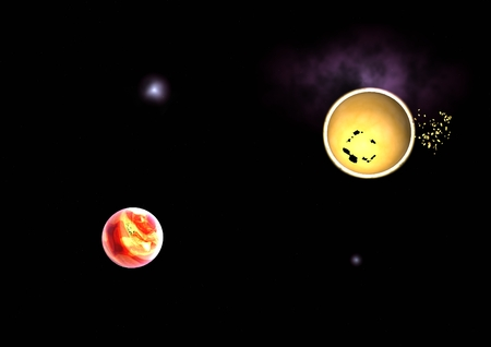 awe: Far-out planets in a space against stars.  Stock Photo