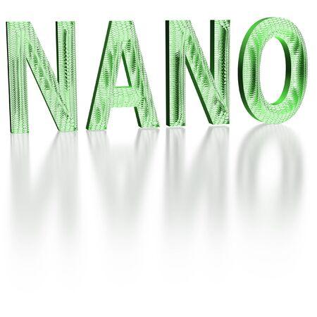 nano: Three-dimensional inscription nano made of a six-sided grid. Stock Photo