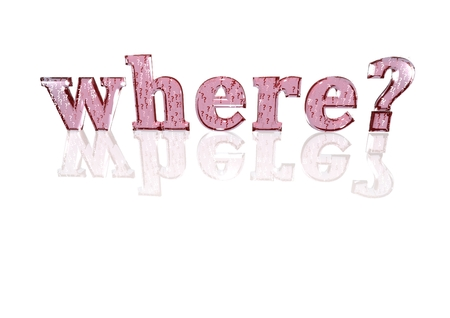 where: The question where? consisting of a set of small question marks Stock Photo