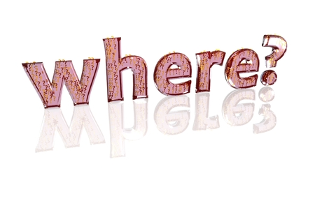 The question where? consisting of a set of small question marks Stock Photo