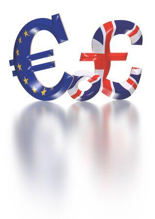 International economy currency units: pound, euro Stock Photo