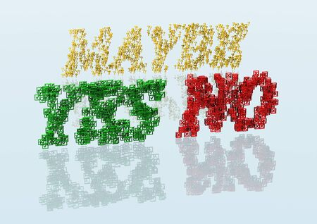 yes no: Three Dimensional words yes, no and maybe made from a set and question marks
