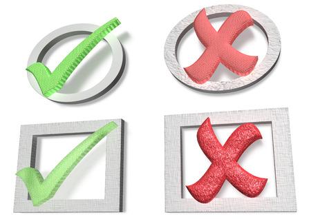 cross mark: Glossy green Check mark and Cross mark on white background Stock Photo