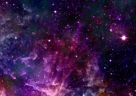 Far being shone nebula and star field against space.  Stock Photo