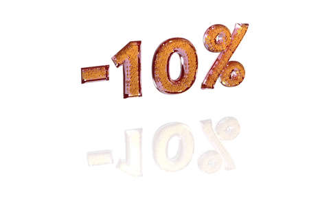 the inscription: Transparent inscription minus 10 percent with a set of gold signs of percent in it Stock Photo