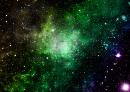 are shone: Far being shone nebula and star field against space