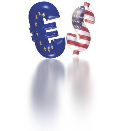 units: International economy currency units: euro and dollar Stock Photo