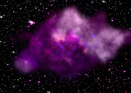 astral: Far being shone nebula and star field against space.  Stock Photo