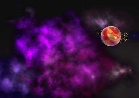 awe: Far-out planets in a space against stars. Elements of this image furnished by NASA.