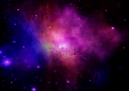 shone: Far being shone nebula and star field against space. Elements of this image furnished by NASA.
