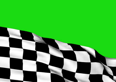 textile background: Background with waving racing three-dimensional checkered flag of end race. Stock Photo