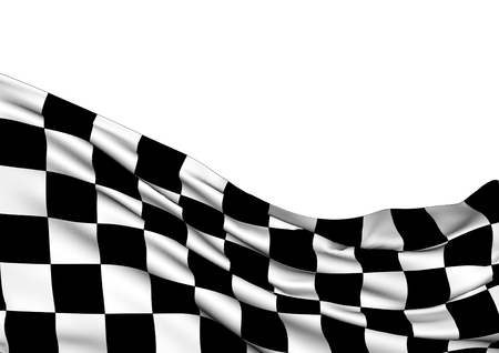 Achtergrond met wuivende racen driedimensionale geblokte vlag van eind race. Stockfoto