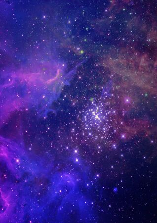 are shone: Far being shone nebula and star field against space.