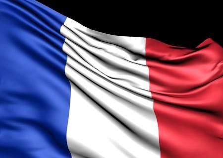 bandera francia: Imagen de una bandera ondeando de Francia Foto de archivo