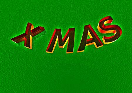 x   mas: Three-dimensional inscription X mas. Creative greeting card design.