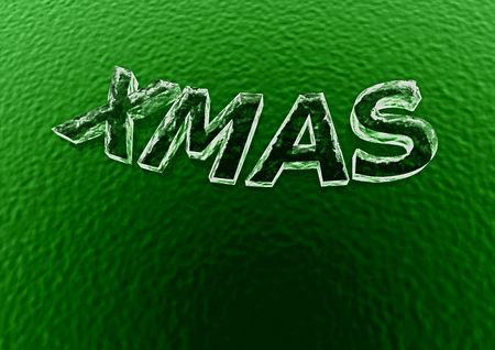 mas: Three-dimensional inscription X mas. Creative greeting card design.