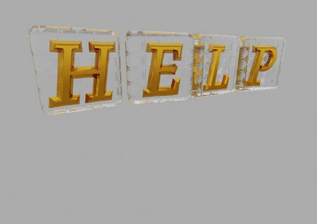 altogether: The HELP word made of blocks with letters