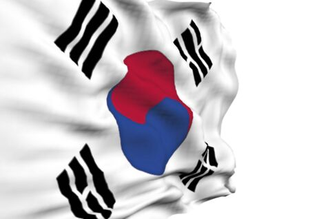 red flag up: Image of a waving flag of Korea