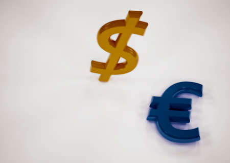excess: International economy currency units: euro and dollar Stock Photo