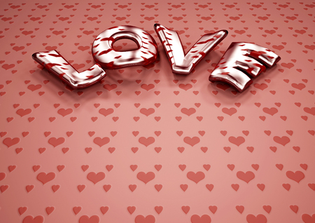 3d dimensional: Dimensional inscription of LOVE. 3D illustration. Stock Photo