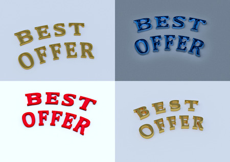 sellout: Set of pictures dimensional inscription of Best offer on background. 3D illustration.