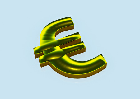 european euro: Dimensional sign of the European euro in color flag of Europe. 3D render.