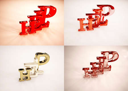 key words art: Set of pictures 3D word HELP isolated on white background