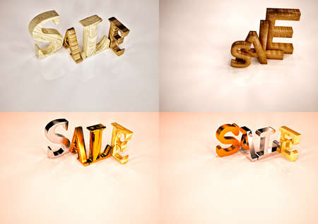 opportunity sign: Set of pictures dimensional inscription of SALE on background. 3D illustration. Stock Photo
