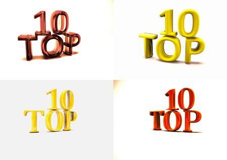 ten best: Set of pictures dimensional inscription of Top 10 on background. 3D illustration.