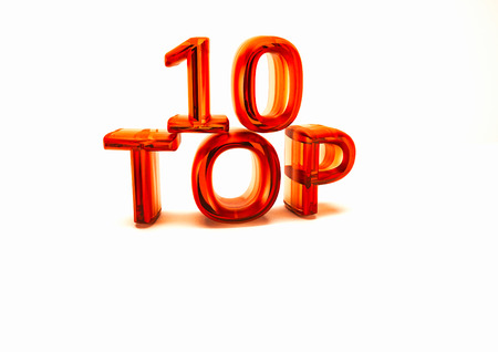 top 10: Top 10. 3D illustration on white background. Stock Photo