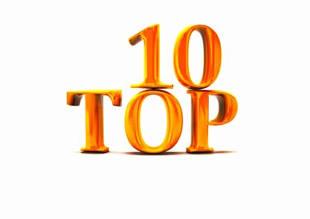 Top 10. 3D illustration on white background. Stock Photo
