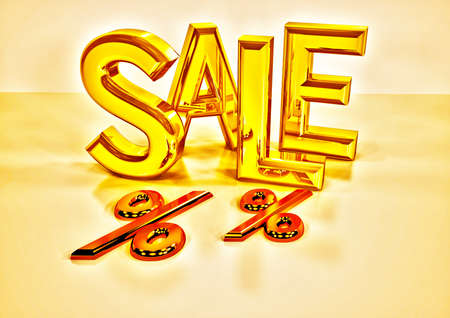 Dimensional inscription of SALE and percents near it. 3D illustration. Stock Photo