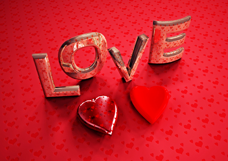 Dimensional inscription of LOVE and hearts near it. 3D illustration. Stock Photo