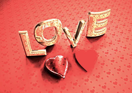 3d dimensional: Dimensional inscription of LOVE and hearts near it. 3D illustration. Stock Photo