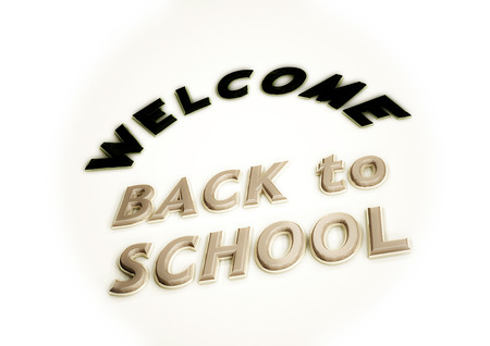 student life: Dimensional inscription Welcome back to school. 3D illustration.