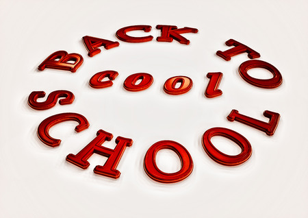 Student Life: Dimensional inscription Back to school. 3D illustration.