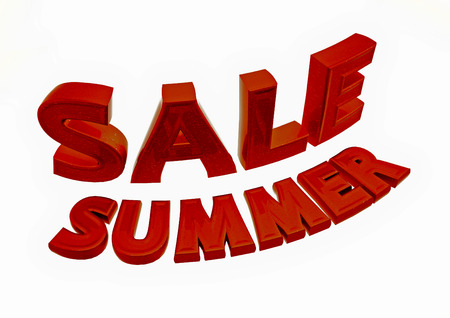 sellout: Dimensional inscription of Summer SALE and percents near it. 3D illustration.