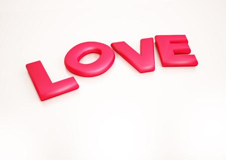 Dimensional inscription of LOVE on background. 3D illustration.