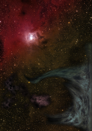 awe: Star field in space a nebulae and a gas congestion. Elements of this image furnished by NASA .