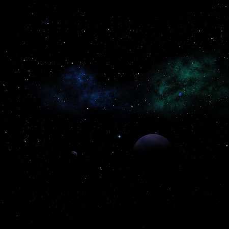 Far-out planets in a space against stars and nebula. Stock Photo
