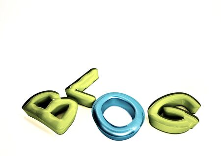 Three-dimensional inscription Blog. 3D illustration.