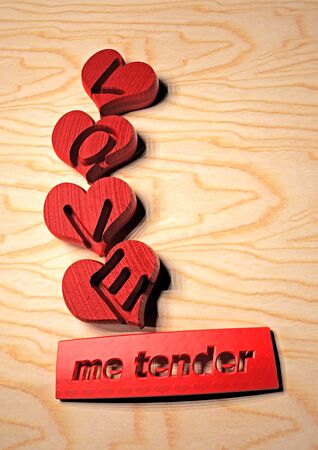 Dimensional inscription Love me tender. Composition for a card. 3D illustration. Imagens