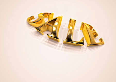 Dimensional inscription of SALE isolated on background. 3D illustration.